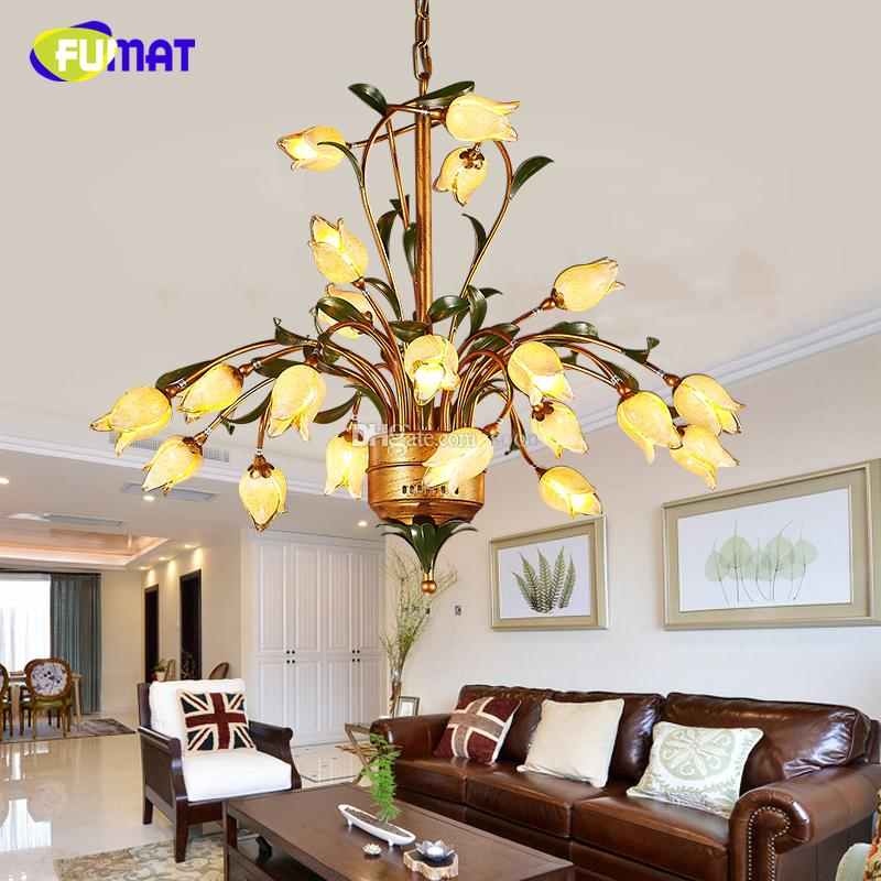 Discount Fumat Warm Flower Chandeliers American Creative Living Room Metal Light Vintage European Led Garden Bed Brief Globe Pendant