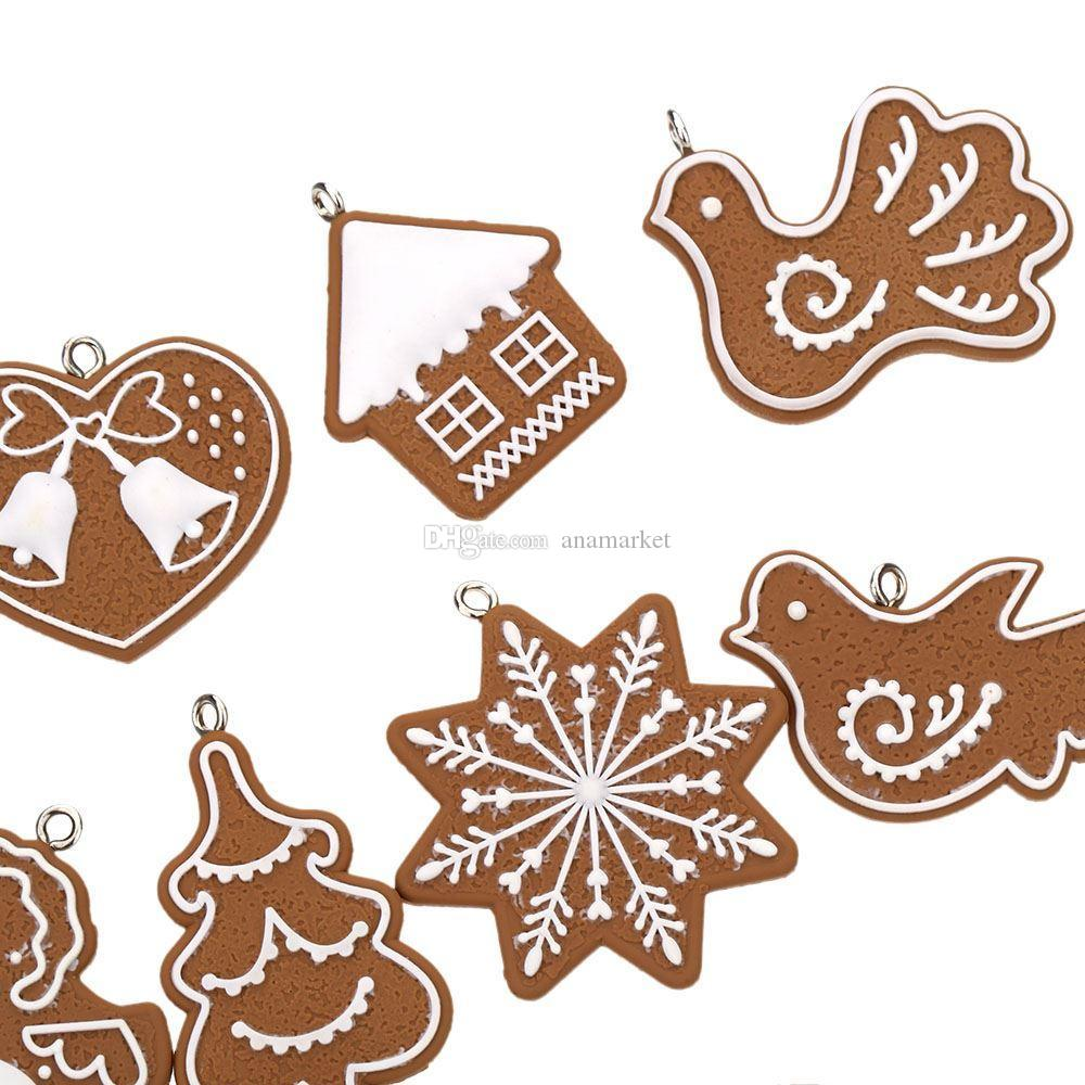 Hot Hanging Ornament Snowflakes Decor Polymer Clay Drop Pendants Christmas Tree Baubles Decoration Enfeites Ornaments Set