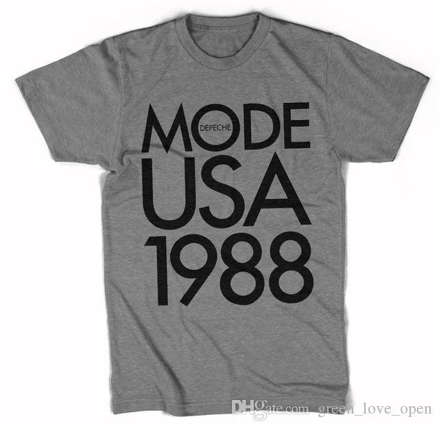 Camiseta Depeche Mode USA 1988 Tour Hombre Camisa Masculina 100% algodón Moda Graphic Print Tees