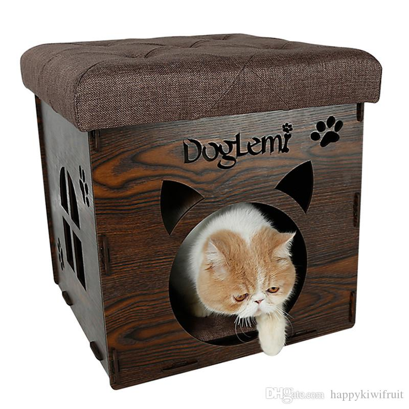Nature Wooden Pet Cat House Cave And House Chair  Cat Bedding Cute Handmade  Cat Cave Kennel Beds Pet Bed Cat Cave Pet House Online With $82.99/Piece On  ...