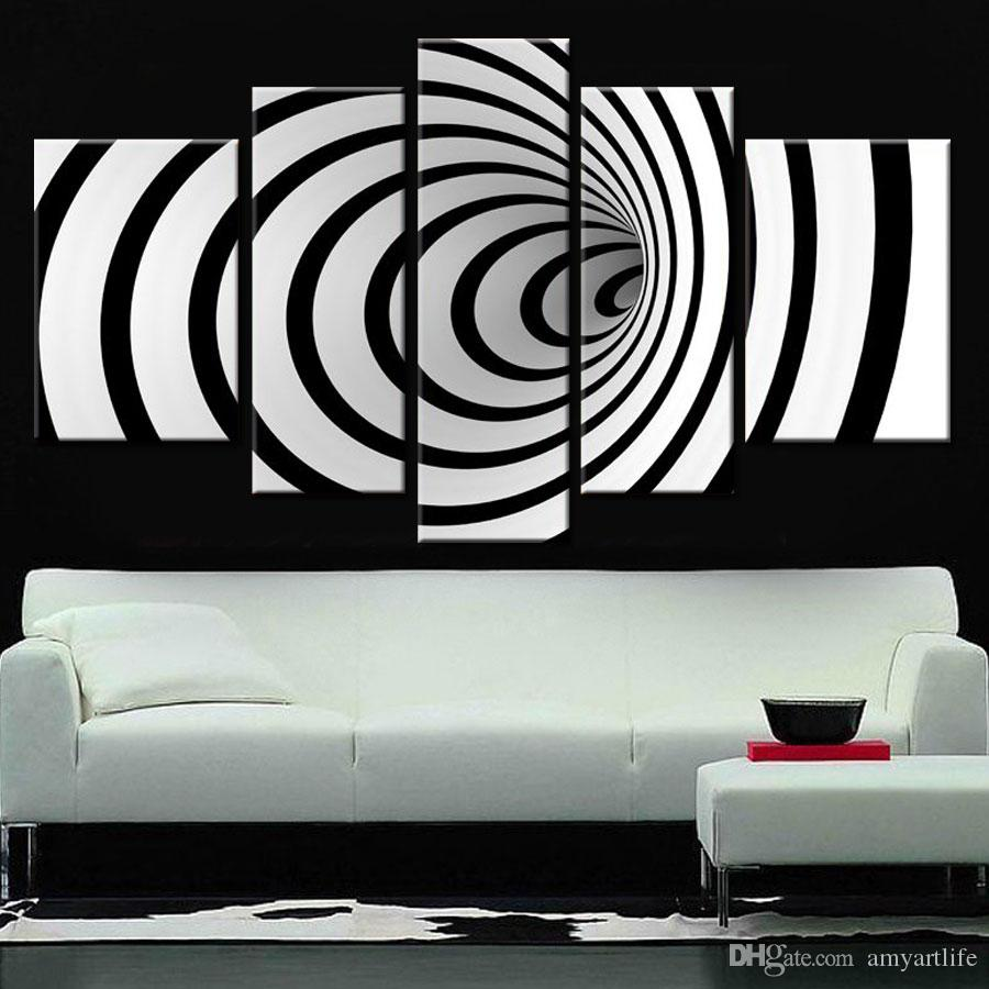 Großhandel Handgemalte Ideen Moderne Leinwand Kunst Bild Zukunft Wandkunst  3d Schwarz Weiß Ölgemälde Für Wohnzimmer Von Amyartlife, $37.48 Auf  De.Dhgate.