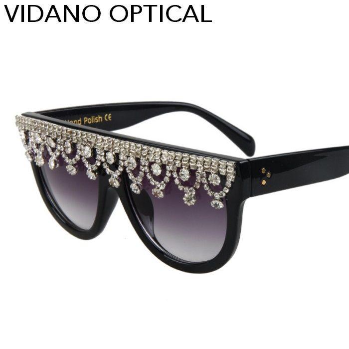 Compre Vidano Optical Luxo Diamante Olho De Gato Mulheres Óculos De Sol De  Verão Projeto Do Partido Feminino Óculos De Sol Cateye Eyewear Redonda Uv400  ... 755db0c63d