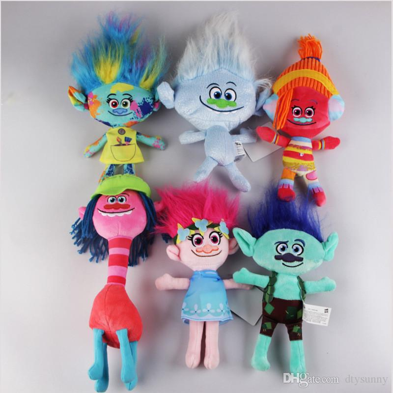 2017 The Newest Movie Trolls Plush Toy Poppy Branch Dream Works Stuffed Cartoon Dolls The Good Luck Trolls Christmas Gifts