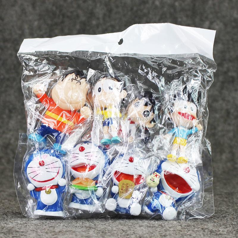 EMS 4.5-7cm Anime Doraemon Nobita Shizuka Suneo PVC Action Figure Collectable Model Toy for kids gift
