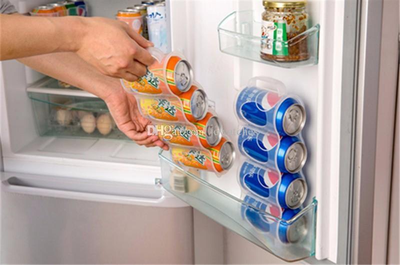 Transparent 4 Case Organizer Useful Refrigerator Storage Box Kitchen Accessories Beverage Can Space-saving