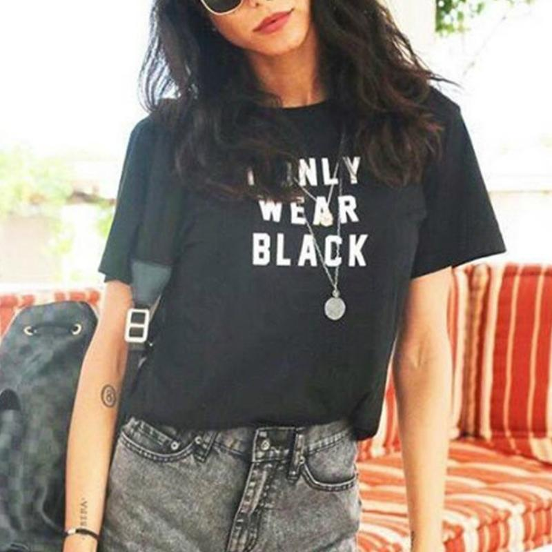 I Only Wear Black T Shirt Women Tumblr Hipster Street Tshirt ...