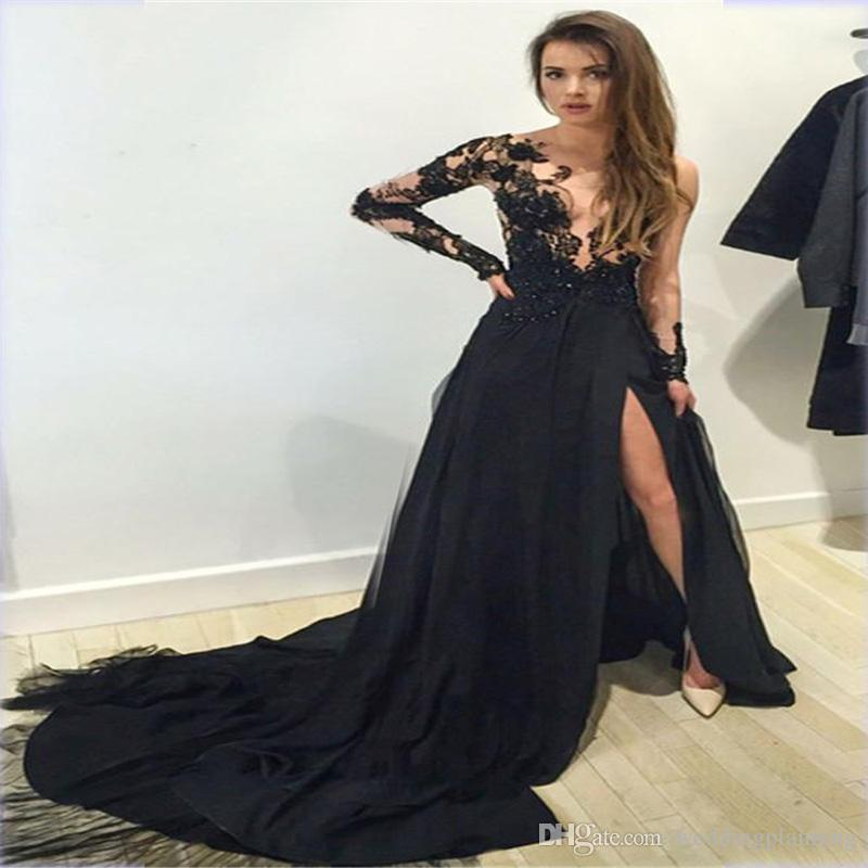 2018 Elie Saab Sexy Long Sleeves Black Split Evening Dresses Custom Made Floor Length Illusion Lace Top Beaded Chiffon Party Prom Dresses