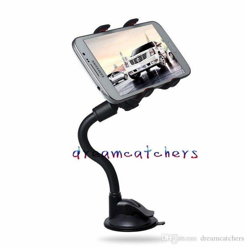 Universal Long Arm 360 Degree Rotating Car Windshield Flexible Suction Cup Mount Stand Holder Swivel for iphone Samsung LG Cell phone GPS