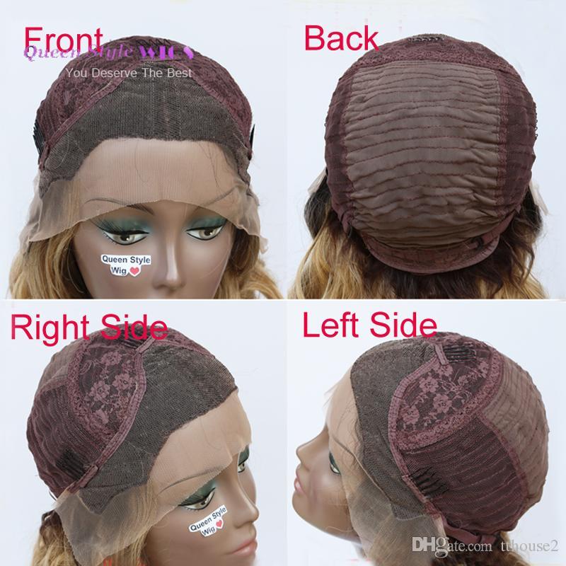 sexy lady sintetica parrucca anteriore del merletto allentato Kim Arricciatura dell'onda rosa ombre giallo rosso dei capelli di colore merletto anteriore parrucche