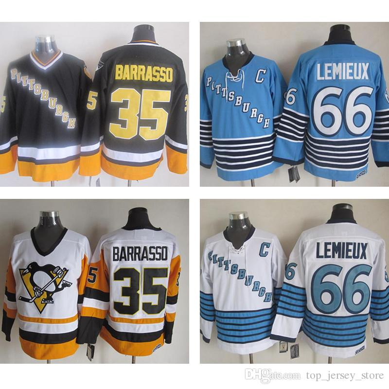 check out 52f85 b9283 reduced mitchellness penguins 35 tom barrasso black stitched ...
