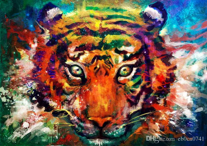 2019 Hd Printed Modern Art Wall Decor Color Animal Tiger
