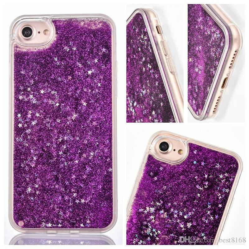 Liquid Quicksand Sparkle Hard PC+Soft TPU Case For Iphone XS MAX XR X 8 7 6 Silicone Stars Heart Love Powder Floating Glitter Bling Gel Skin