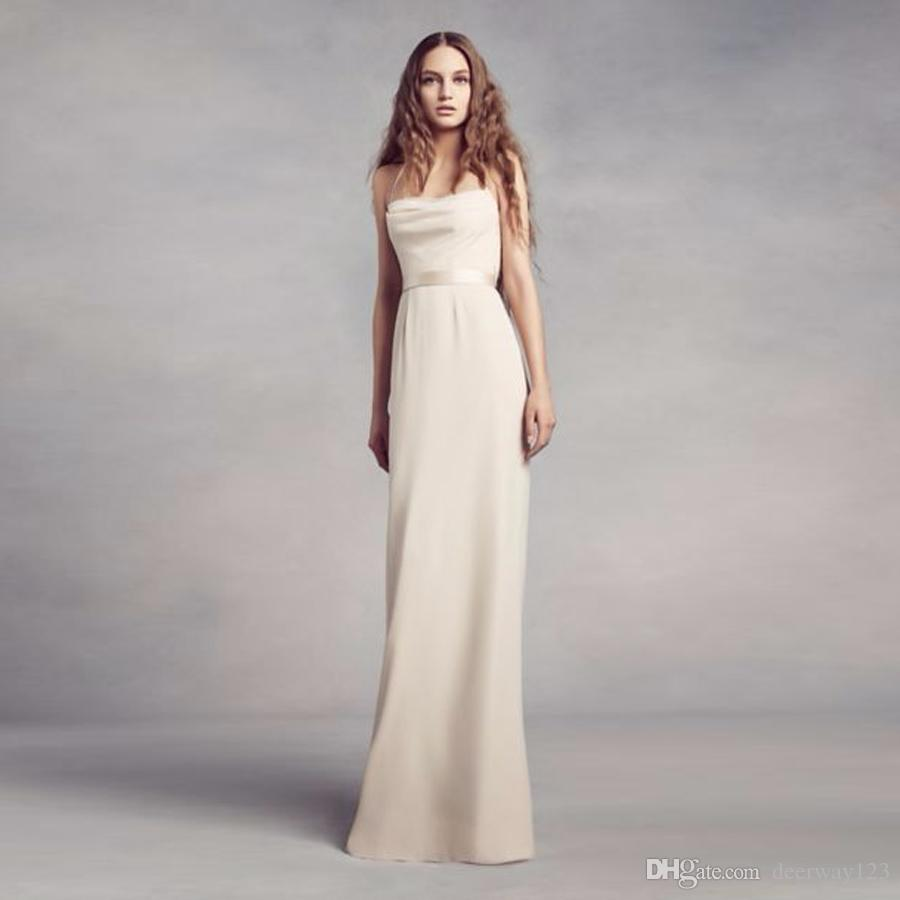 Cowl Back Bridesmaid Dress: 2019 NEW! Cowl Back Crepe Bridesmaid Dress With Illusion