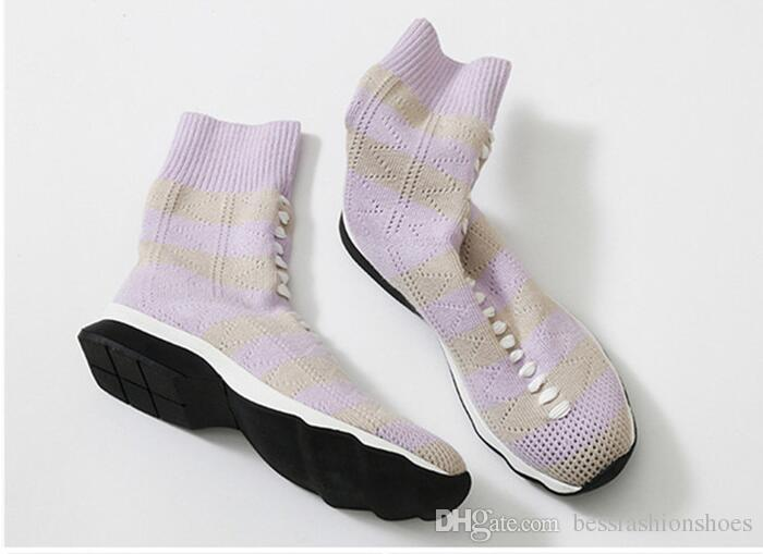 Fashionable Casual Stripe Knitted Elastic Socks Ankle Boots Flat Comfortable Wool Short Boots Shoes women Female Runway Booties Fall Shoes
