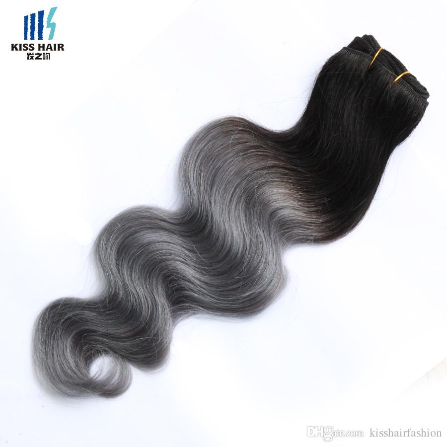 4 Bundles T 1B Dark Grey Ombre Human Hair Bundles Two Tone Colored Peruvian Body Wave Virgin Brazilian Malaysian Indian Hair Extensions