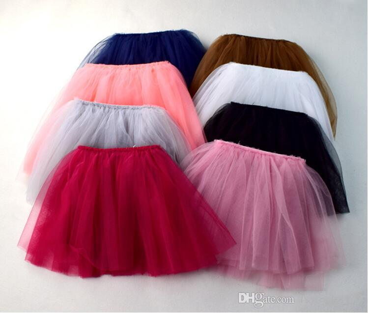 8 colors Four all-match new arrivals Four layers of gauze Princess skirts cute girl Summer solid color skirt free shipping