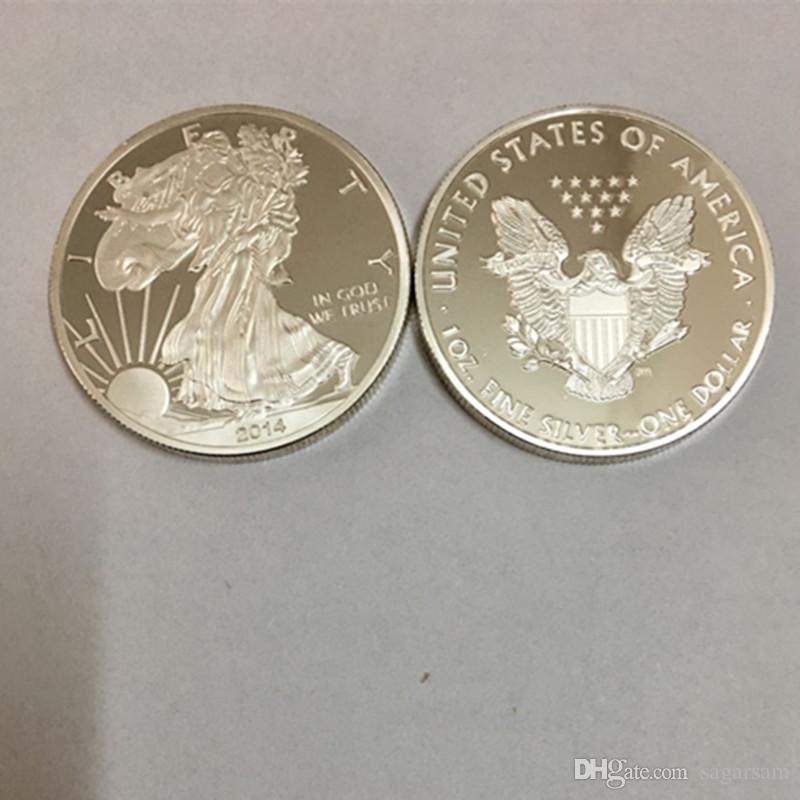 Non magnétique Année 2014 1 oz noyau en laiton Argenté American Eagle Coins la statue de la liberté souvenir 40 mm décoration en métal pièce