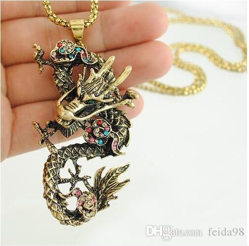 Commercio all'ingrosso - Moda Collane del pendente del Drago cinese dei monili di modo P067