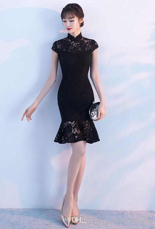 Elegant High Neck Short Prom Dress 2017 Black Lace Mermaid Short