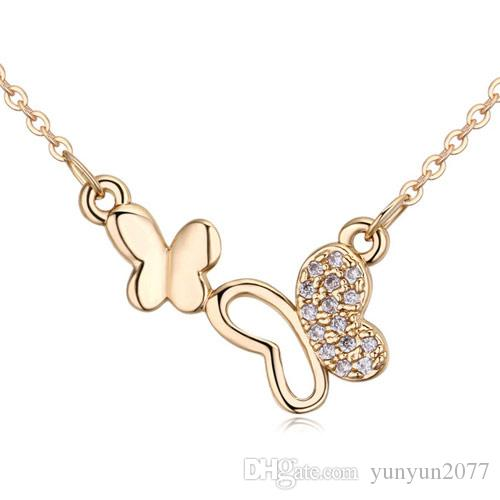 Luxury High-grade Fine Jewelry Accessories Sweet Micro Inlay AAA Zircon Dance Butterfly Pendant Real Gold Charm Chokers Necklaces For Women