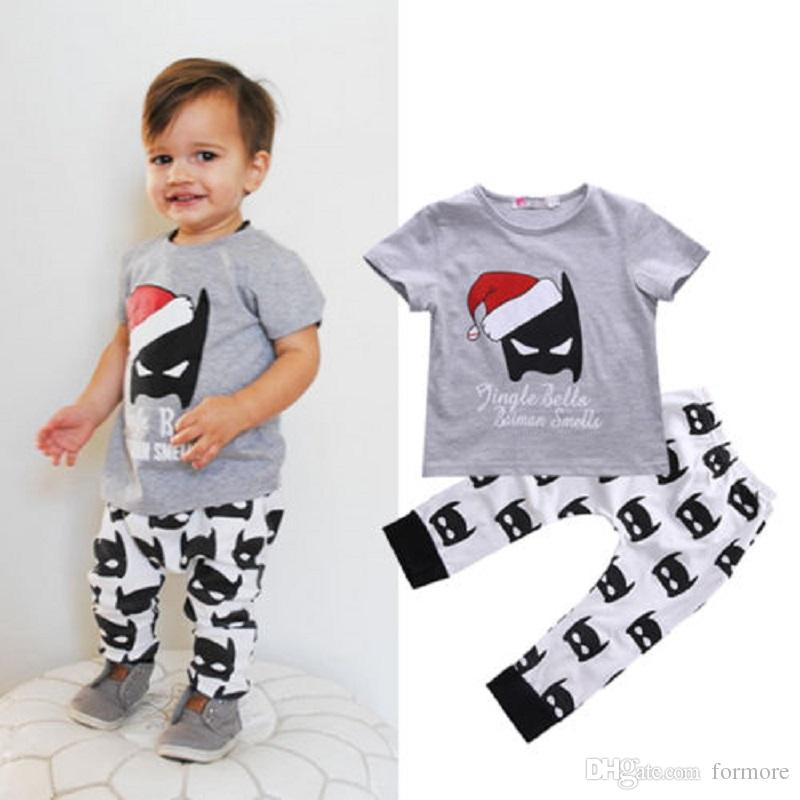 0f16fe2a98f9 2019 Baby Clothes Toddler Boys Clothing Set Grey Tracksuit Short Sleeve  Shirt Tops Legging Pants Outfits Sports Boy Suit From Formore