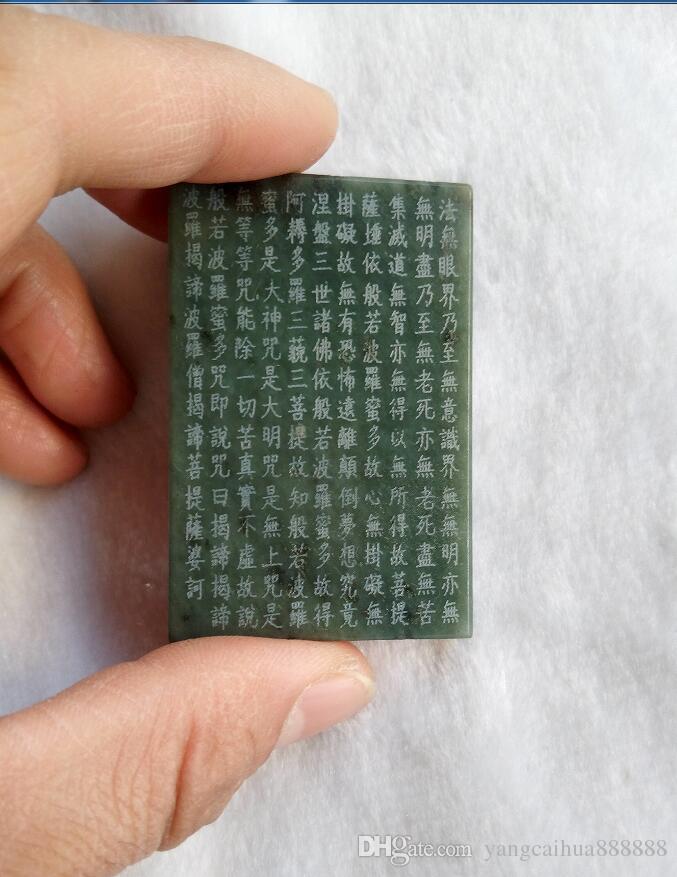 Çin Sincan yeşim yeşim el - şans getirerek oyulmuş guan Yin, moda takı, siyah ve yeşil yeşim