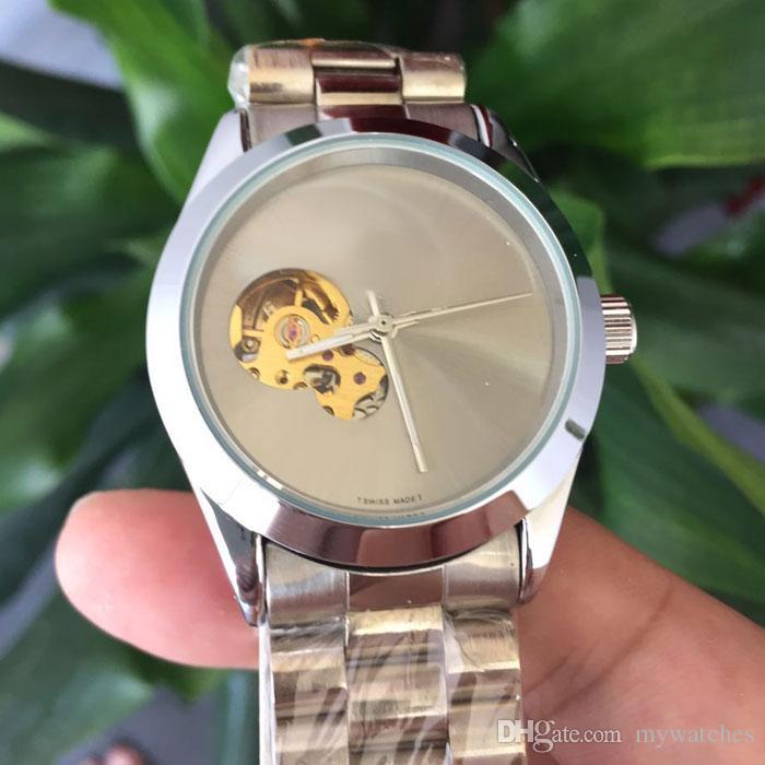 la moda unisex para hombre relojes de las mujeres de negocios acero inoxidable del reloj de banda completa dial esquelético mecánico automático del reloj de señoras para los hombres