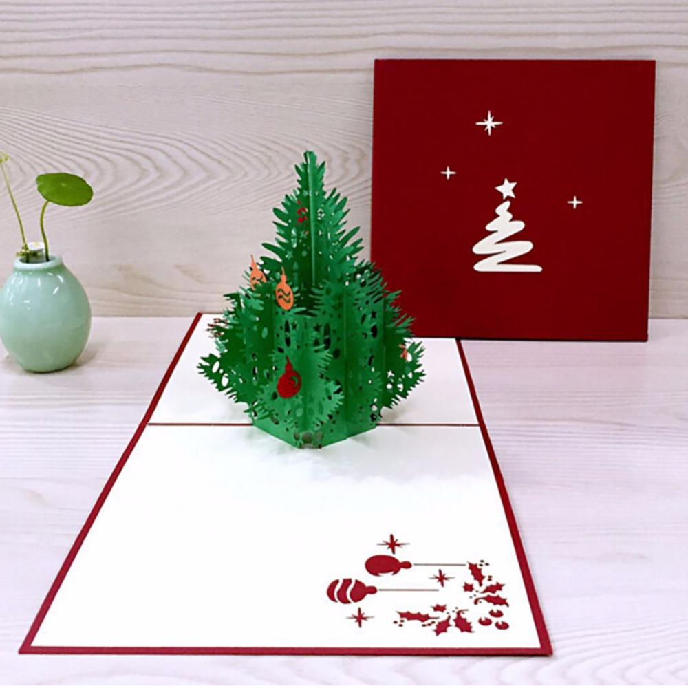 3d happy tree christmas cards greeting handmade paper card personalized keepsakes postcard for xmas wedding birthday invitation free greeting cards birthday