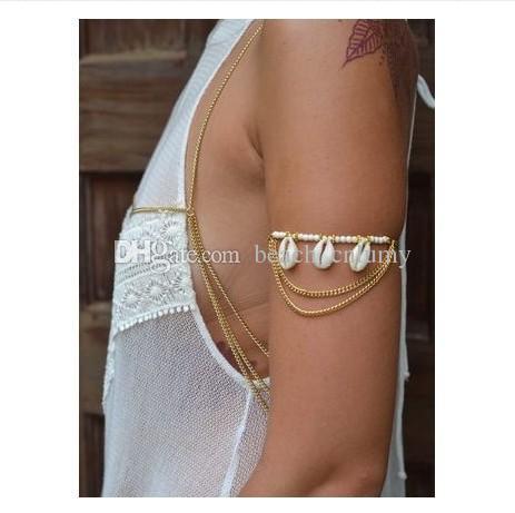 Kadınlar Bohemian plaj Shell Üst vücut zincirleri Charm Bilezikler Vücut takı Armbanden Köle Harness Püsküller Zincir Altın Gümüş Kol Armlet'ı kol