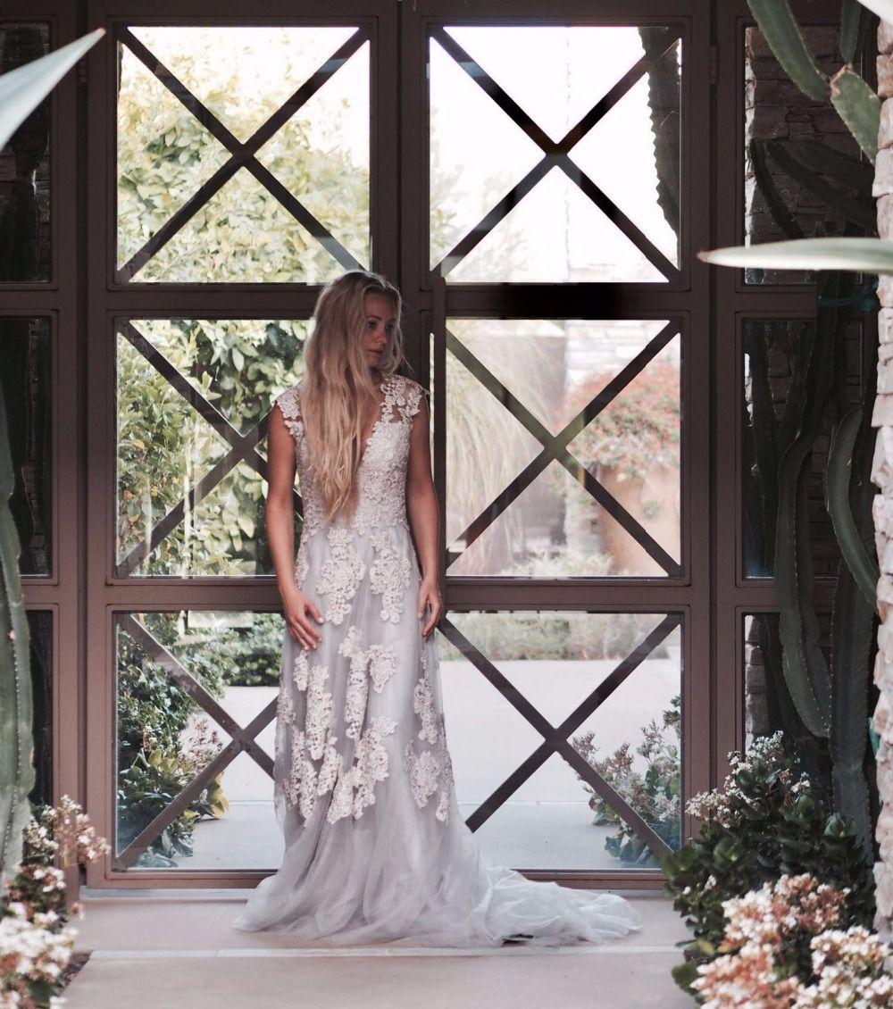 Vintage Dentelle Boho Robe de Mariée robe de mariage Cap Manches Dentelle Robes De Mariée 2017 Plus La Robe de noiva de renda