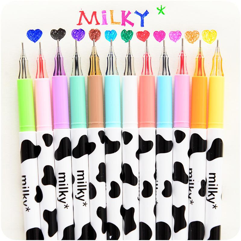 12 Color/set Milky Gel Pen Diamond Ball Pen Korean Stationery Zakka Canetas Papelaria Material Escolar School Supplies