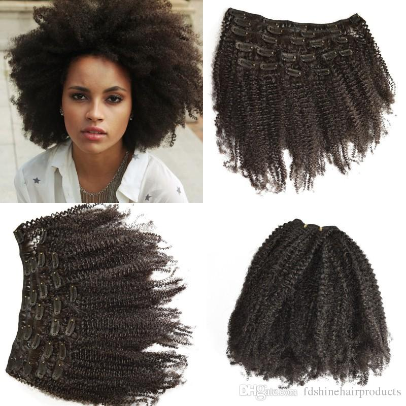 Virgin Cambodian Hair Extensions Afro Kinky Curly Clip In Human Hair