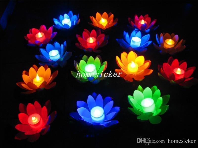 Livraison Gratuite artificielle Led flottant Fleur De Lotus Bougie Lampe Avec Coloré changé Lumières Pour La Fête De Mariage Décorations Fournitures