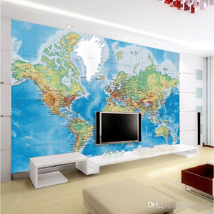 4 Style 3d Any Size Custom Russia Canada World Map Wallpaper Mural Rolls For Office Hotel Restaurant Bar Ktv Living Room Free In Hd