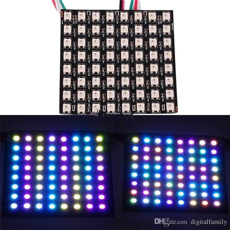 8 * 8 pixels 64 pixels 16x16 8x32 WS2812B numérique flexible LED programmable écran de panneau WS2811 IC individuellement adressable RVB 5V