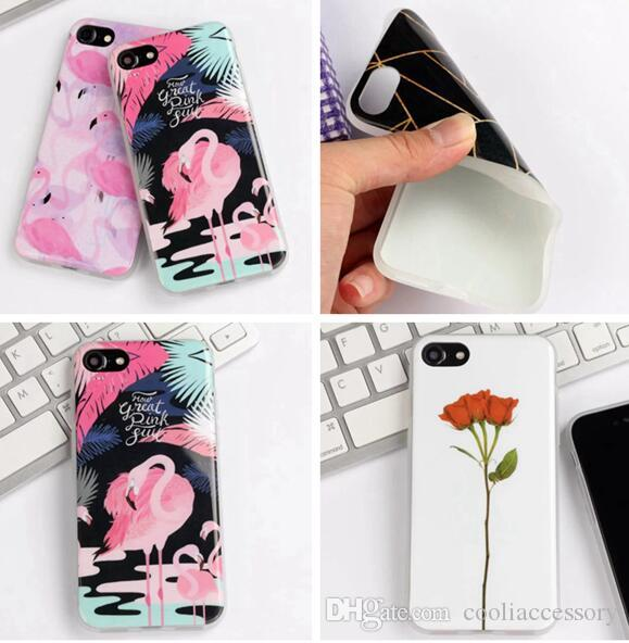 Flower Cartoon Soft TPU Case For Iphone 8 7 Plus 7plus I8 6 6S SE 5 5S Silicone Plant Tree Bird Flamingo Cell phone Skin Cover Luxury