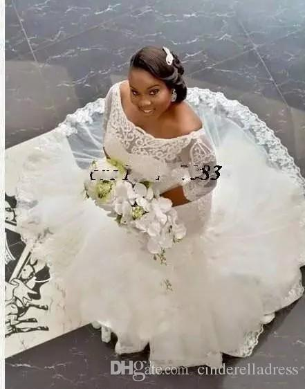 African Traditional Lace Wedding Dresses Plus Size Half Sleeve 2018 Appliques Off Shoulder Mermaid Bridal Gowns Covered Button Custom Made