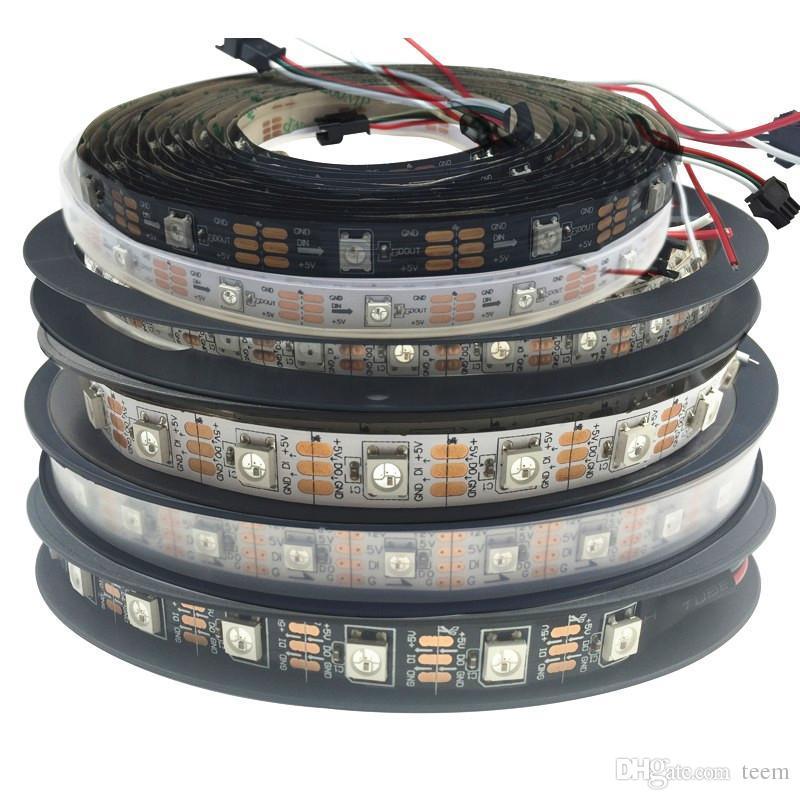 5m 60 LEDs / m WS2812B WS2812 pixels Carte blanche PCB imperméable WS2811 IC 5050 RVB SMD Lumière de bande flexible LED Couleur 5V 00000