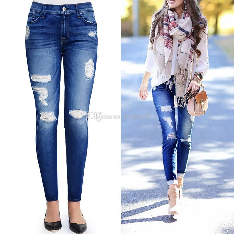 young girl casual jeans legging stretch denim pant hot sale jean trousers street ripped holes fashion