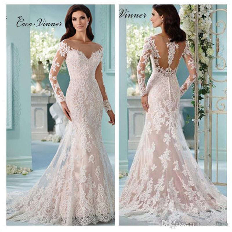 C.V Long Sleeve Plus Size Lace Appliques Wedding Dress 2017 Sheer ...