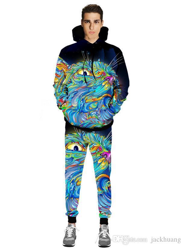Männer / Frauen bunte Katze Hoodie + Hosen Frühling / Herbst 3D Digital Print Tier Sweatshirt Joggers Kapuzen Trainingsanzug Sweatpant Set