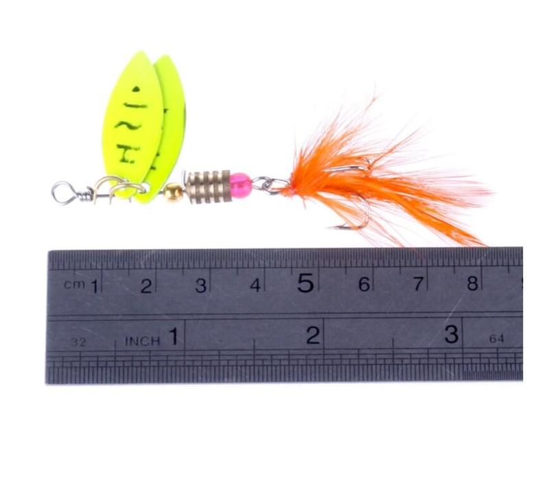 Yellow Double Sequins Spinnerbaits 4.5 Gram Metal Fishing Lure 8cm Spoon Fishing Baits for Saltwater