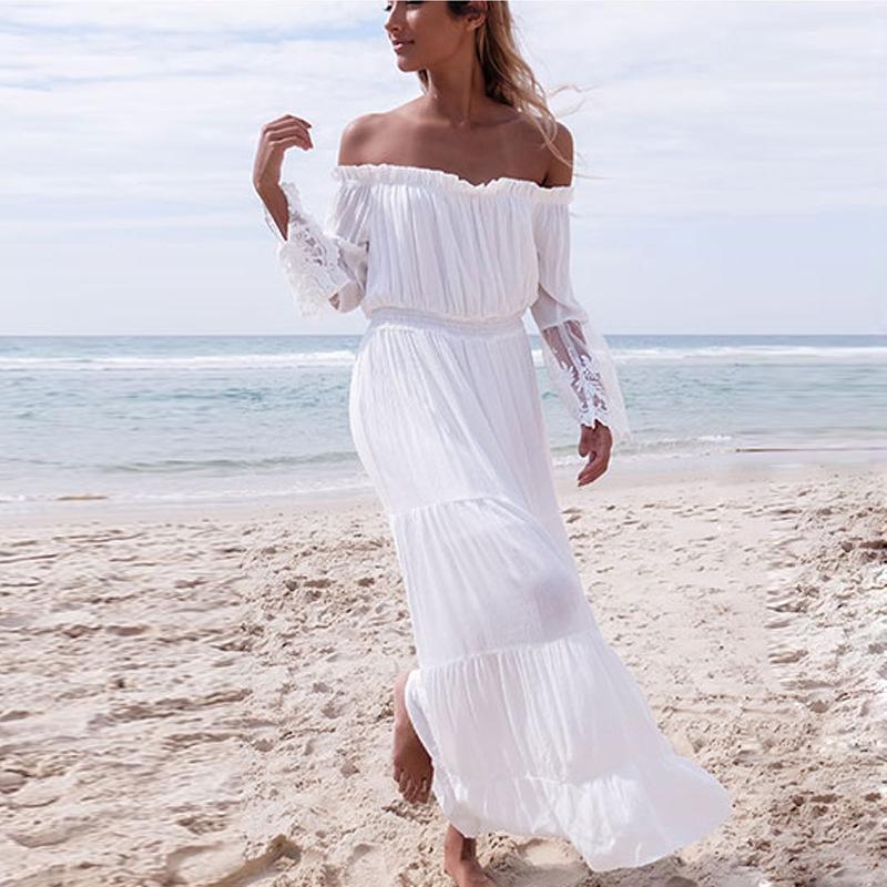 1be65f7c9 Compre Vestidos Casuais Para As Mulheres Vestido De Praia New Summer Dress  Lace Costura Vestido Sem Alças Sexy One Word Led Branco Lazer Elastic Waist  De ...