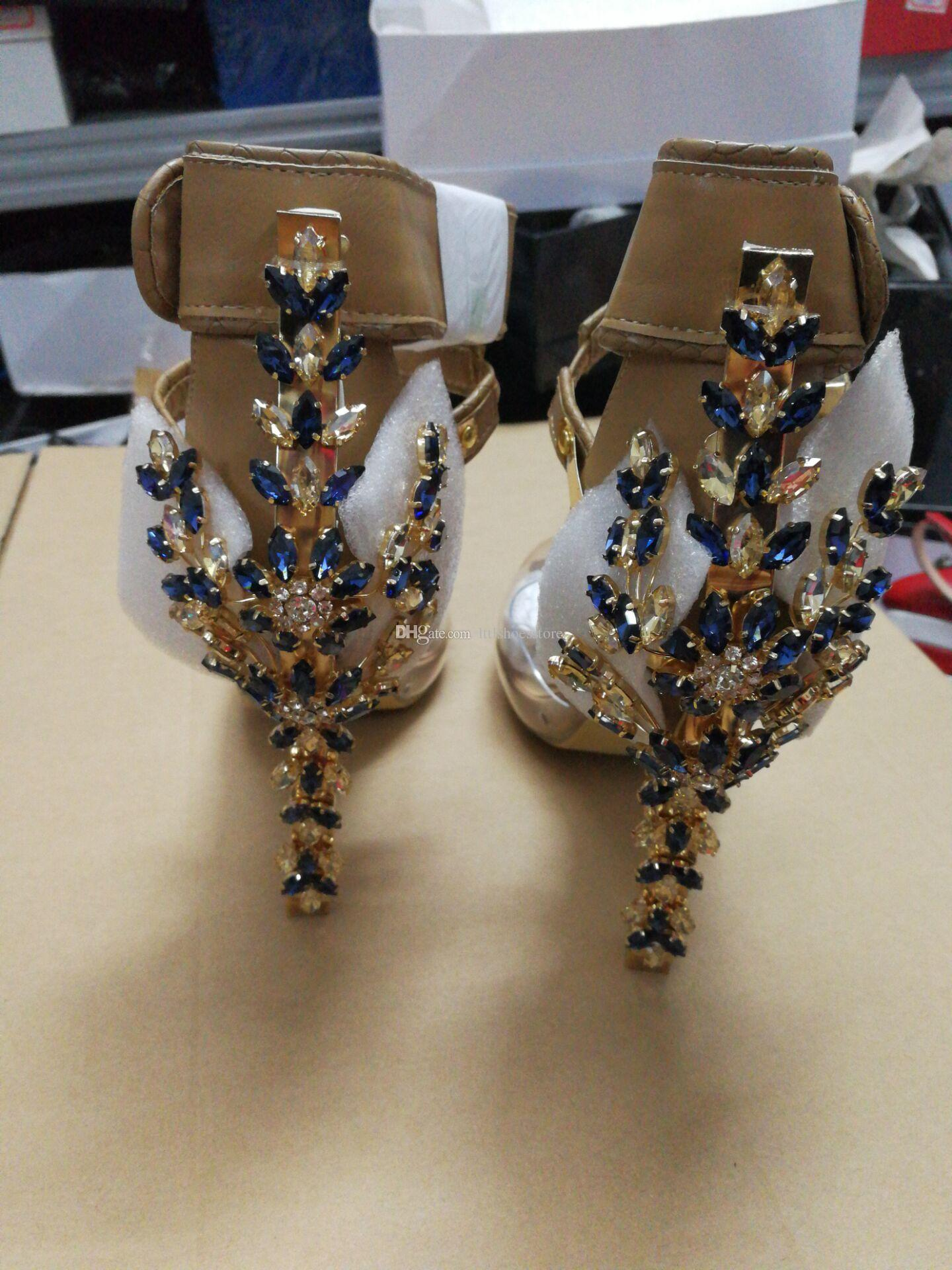 LTTL Brand Shoes Real Pic PVC Rihanna Sexy Crystal Embellished Sandals Padlock Spiked High Heels Pumps Colorful Beaded Celebrity Party Shoes