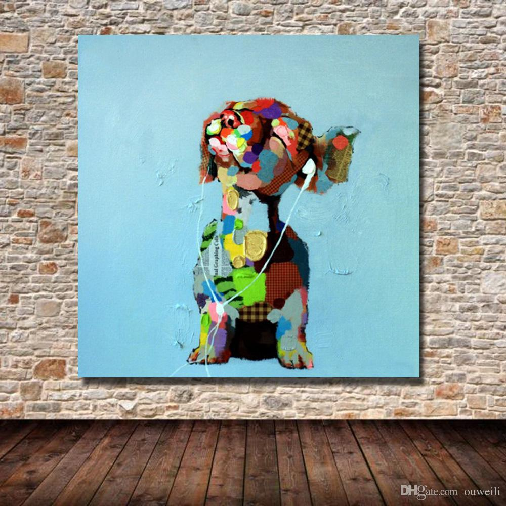2016 abstract decorative design cartoon dog canvas oil painting by hand painted painting pictures ideas