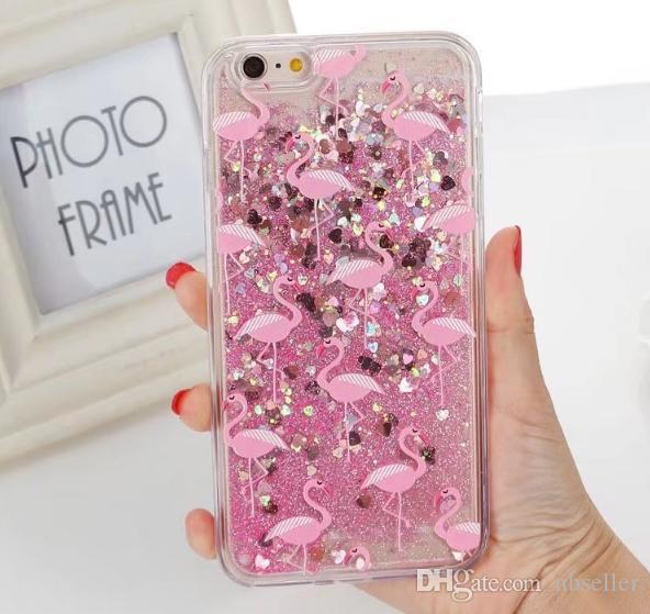 Glitter Liquid Quicksand case pineapple cup perfume bottle flower heart sparkle Flamingo case For iPhone 7 6 6S plus 7PLUS plating cover