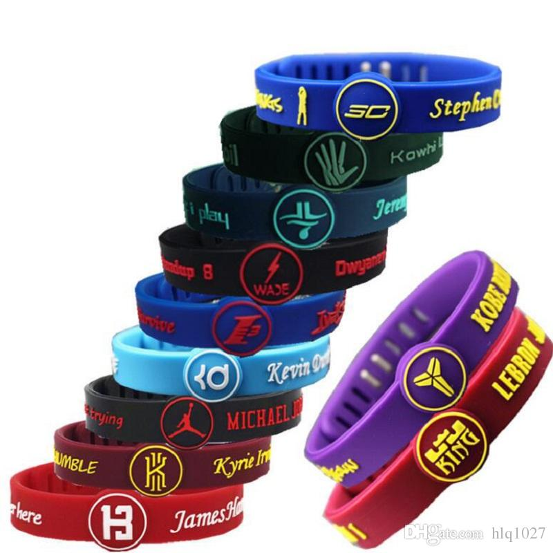 2df3e939c05 2019 Wholesale Basketball Star Adjustable Bracelet Silicone Wristband  Rubber Hand Ring Band For Basketball Fans From Hlq1027