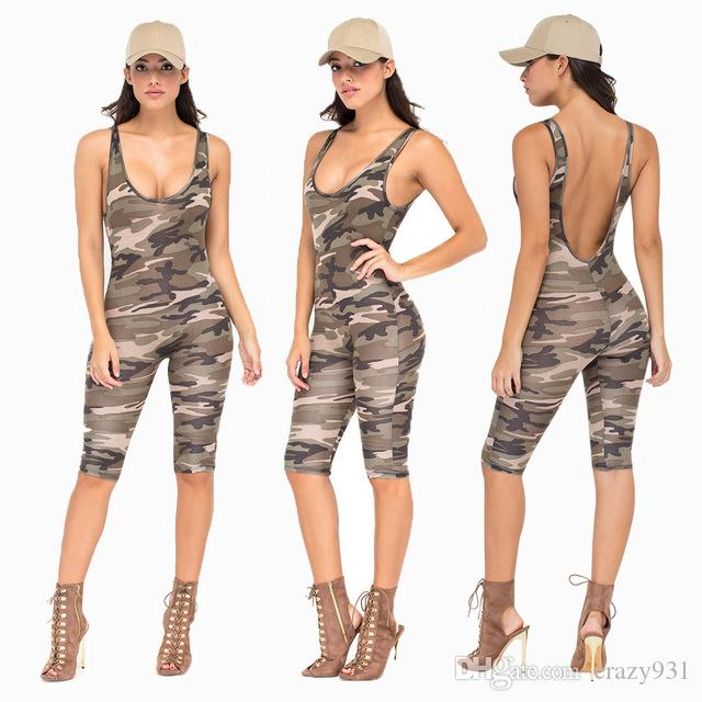 75b71324319 Sexy Bodycon Jumpsuit Casual Miltary Overalls Sporting Camouflage ...