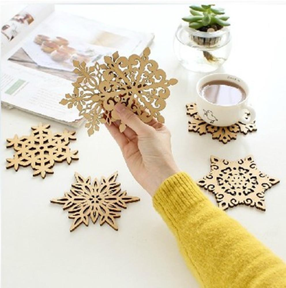 2018 Wholesale Snowflakes Wooden Coasters Hollow Heat Resistant Pad Cup Mat  Wedding Table Kitchen Ornaments Drink Placemat Snowflowers From Cansou, ...