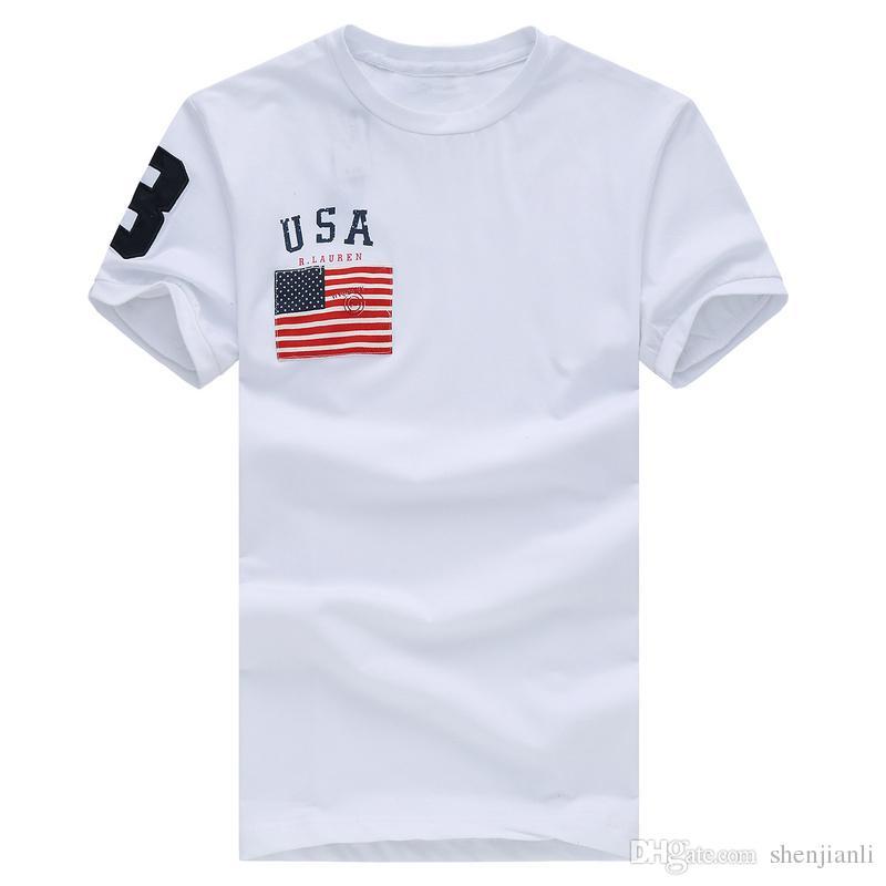 Livraison gratuite 2017 de haute qualité coton nouveau O-cou à manches courtes t-shirt marque hommes T-shirts casual drapeau pour les hommes de sport polo T-shirt